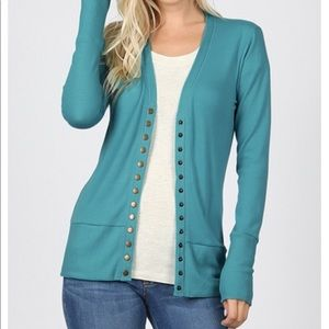 Plus size Teal Snap Button Cardigan Sweater 1x-3x